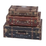 Woodland Imports 3 Piece Wood Trunk Set; Brown/Red/Midnight Blue