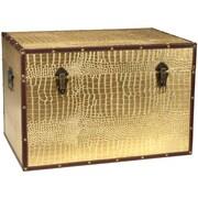 Oriental Furniture Faux Leather Crocodile Trunk; Gold