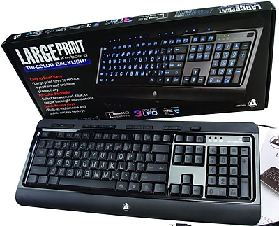 Aluratek Large Print Tri-Color Illuminated LED Backlight USB Gaming Keyboard, Black