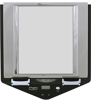 Zadro Z'Fogless Dual LED Lighted Mirror With Digital Clock & 2 Razor Mounts, Stainless Steel 1001791