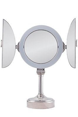 Zadro™ Surround Light™ 10x/1x Tri-Fold Vanity Mirror, Polished Nickel