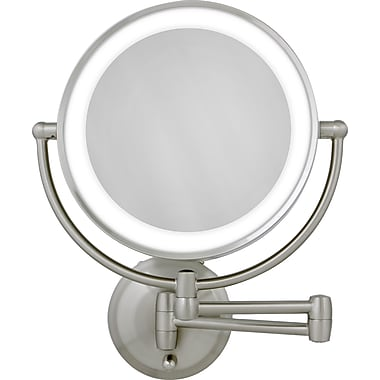 Zadro™ Next Generation™ 10x/1x LED Lighted Round Wall Mirror, Satin Nickel