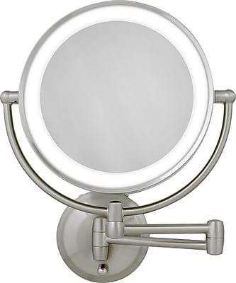 Zadro™ Next Generation™ 10x/1x LED Lighted Round Wall Mirror, Satin Nickel