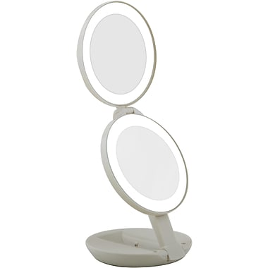 Zadro™ Next Generation™ 10x/1x LED Lighted Compact Travel Mirror, Off White