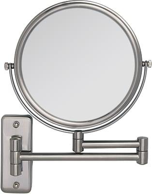 Zadro™ 5x/1x Non Lighted Swivel Dual Arm Wall Mirror, Satin Nickel