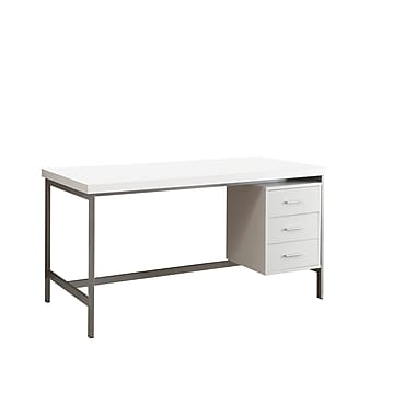 Monarch® Hollow-Core Wood/Silver Metal Office Desk, White