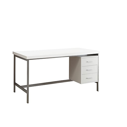 Monarch Hollow Core Wood Silver Metal Office Desk White Rollover Image To Zoom In S Staples 3p Com S7 Is