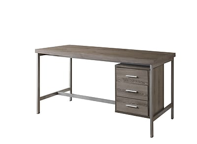 Monarch® Reclaimed Hollow-Core Wood/Silver Metal Office Desk, Dark Taupe
