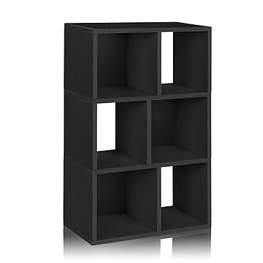 Way Basics Eco-Friendly 3 Shelf Laguna Bookcase Storage Shelf, Black Wood Grain - Lifetime Warranty