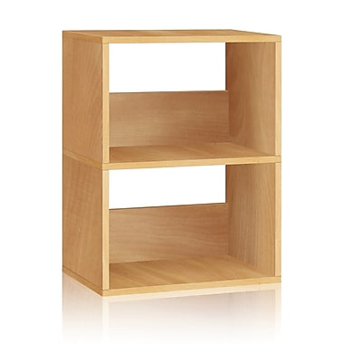 Way Basics Eco-Friendly 2 Shelf Duplex Bookcase Storage Shelf, Natural Wood Grain - Lifetime Warranty