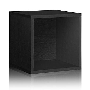 Way Basics Eco-Friendly Stackable Large Storage Cube, Black Wood Grain - Lifetime Warranty