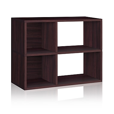Way Basics Eco-Friendly 2 Shelf Chelsea Bookcase (under desk storage), Espresso Wood Grain - Lifetime Warranty