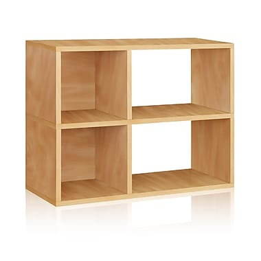 Way Basics Eco-Friendly 2 Shelf Chelsea Bookcase (under desk storage), Natural Wood Grain - Lifetime Warranty