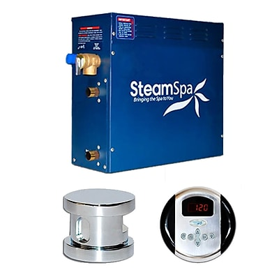 Steam Spa SteamSpa Oasis 7.5 KW QuickStart Steam Bath Generator Package; Chrome