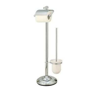 Elements of Design Vintage Free Standing Pedestal Toilet Paper Holder w/ Stool Brush Holder