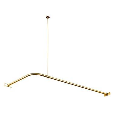 Kingston Brass Vintage 64'' Adjustable L-Shaped Fixed Shower Curtain Rod; Polished Brass