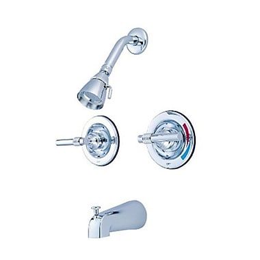Elements of Design Milano Diverter Tub and Shower Faucet w/ Magellen Lever Handles; Polished Chrome
