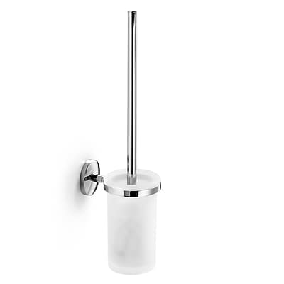 WS Bath Collections Noanta Wall MountedToilet Brush and Holder; Frosted Glass