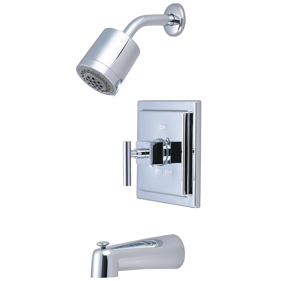 Elements of Design Claremont Single Handle Tub and Shower Faucet; Polished Chrome