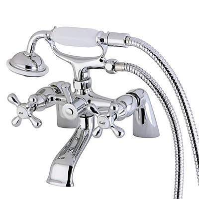 Kingston Brass Kingston Deck Mounted Clawfooted Tub Faucet w/ Hand Shower; Polished Chrome