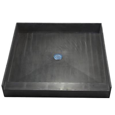 Tile Redi Single Curb Single Threshold Shower Base; 6.5'' H x 42'' W x 42'' D