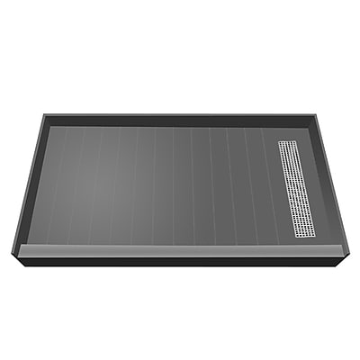 Tile Redi Plank Pitch Single Threshold Shower Base w/ Drain Grate; 5.75'' H x 60'' W x 42'' D