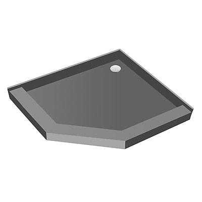 Tile Redi Neo-Angle Triple Threshold Shower Base w/ Drain Plate; 5.75'' H x 48'' W x 48'' D
