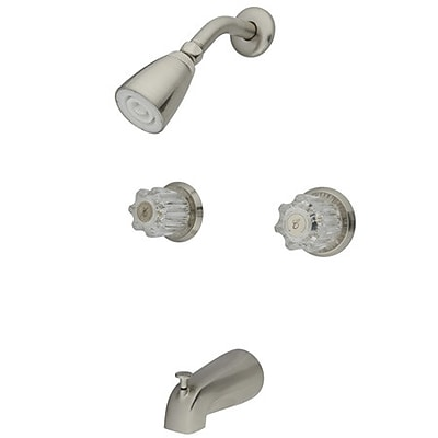 Kingston Brass Americana Two Handle Tub and Shower Faucet; Satin Nickel