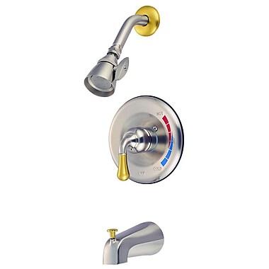 Kingston Brass Magellan Tub and Shower Faucet; Satin Nickel/Polished Brass