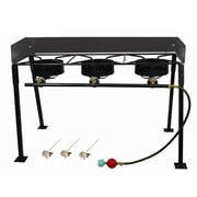 Click here to buy King Kooker Tall Rectangular Outdoor Three Burner Camp Stove Package.