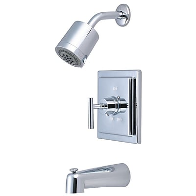 Elements of Design Manhattan Volume Control Tub and Shower Faucet Single Handle; Polished Chrome