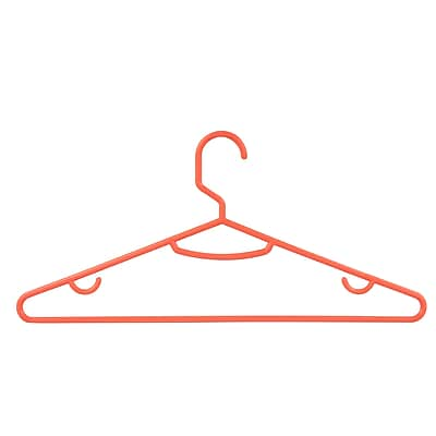 Honey-Can-Do Plastic Recycled Plastic Tubular Hangers, Neon Salmon, 15/Pack