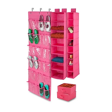 Honey-Can-Do 4-Piece Room Velcro-Style Straps & Clear Vinyl Organization Set, Pink