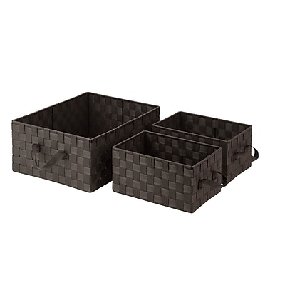 Honey Can Do General Purpose Organizer Kit with Handles Woven Fabric Basket, Espresso Brown (OFC-03697)