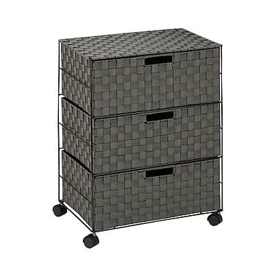 Honey Can Do Double Drawer Woven Fabric Storage Organizer, Salt & Pepper (OFC-03715)