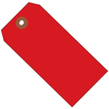 BOX 6 1/4  x 3 1/8  #8 Plastic Shipping Tags, Red