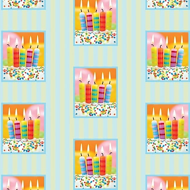 2 Sheet Flat Birthday Wrap, Multi-Coloured Candles, 12/Pack