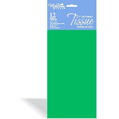 Solid Colour Tissue, Holiday Green, 12/Pack