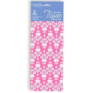 Printed 6 Sheet Tissue Paper, Pink Floral, 12/Pack