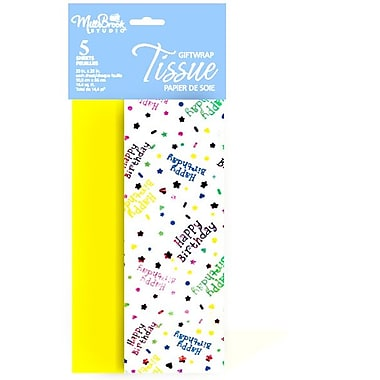 Printed Foil Stamped 5 Sheet Tissue Paper, HBD Assortment, Yellow, 12/Pack