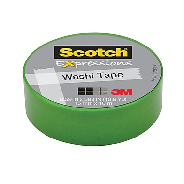 Scotch® Expressions Washi Tape, 15 mm x 10 m, Green