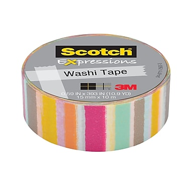 Scotch® – Ruban Expressions Washi, 15 mm x 10 m, rayures floues