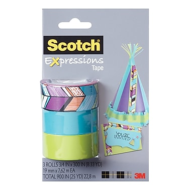 Scotch® Expressions Magic™ Tape, 19 mm x 7.62 m, Tribal, Turquoise, Lime Green, 3/Pack