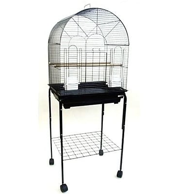 YML Round Top Small Bird Cage w/ Stand; Black