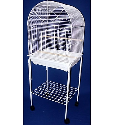 YML Round Top Small Bird Cage w/ Stand; White WYF078276420267