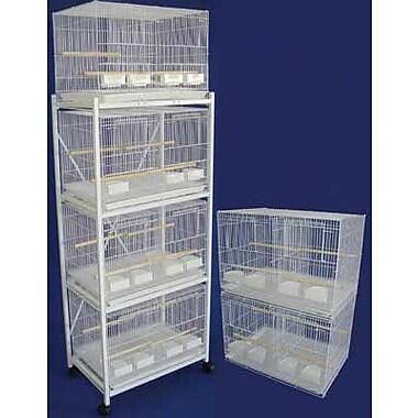 YML Six Small Bird Cage w/ 4 Feeder Doors; White