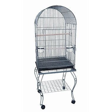 YML Dome Top Parrot Bird Cage w/ Stand; Antique Silver