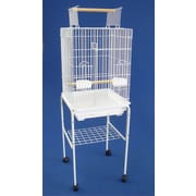 YML Open Top Small Parrot Bird Cage w/ Stand; White