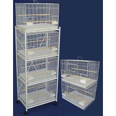 YML Six Small Bird Cage w/ 2 Feeder Doors; White