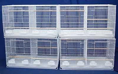 YML Lot of Four Medium Bird Cage w/ Divider; White